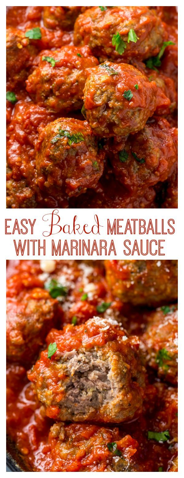 Easy Baked Meatballs Recipe Video With Marinara Sauce Baker By Nature Recipe Easy Baked Meatballs Meatballs Easy Meatball Recipes Easy