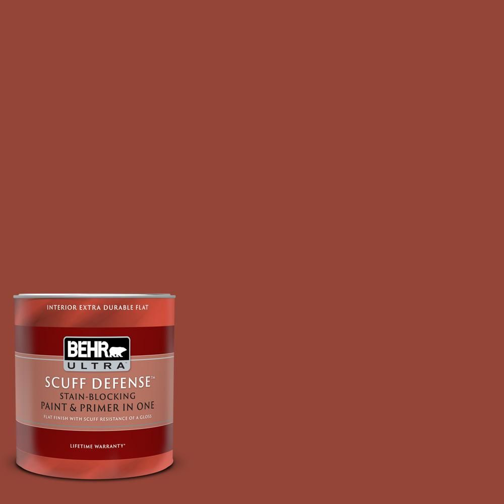 BEHR ULTRA 1 qt. #MQ1-24 Smokin Hot Extra Durable Flat Interior Paint and Primer in One-172304 - The Home Depot