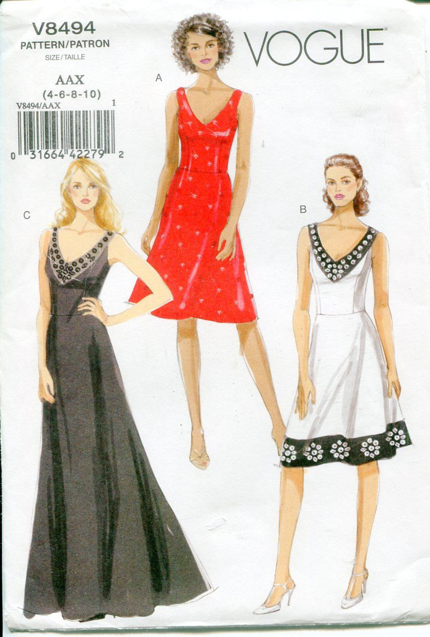 Vogue v misses v neck formal dress pattern mid knee to floor
