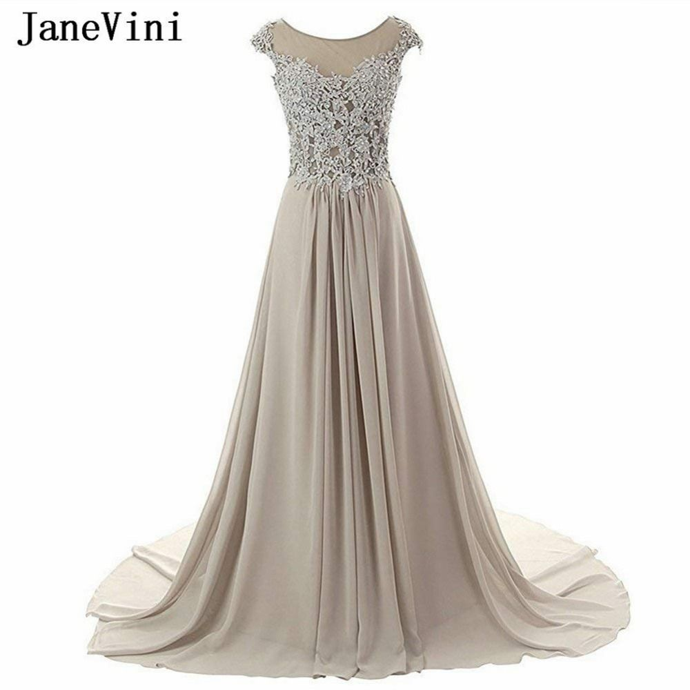 Long wedding guest dresses  JaneVini  Silver Gray A Line Chiffon Bridesmaid Dresses Scoop