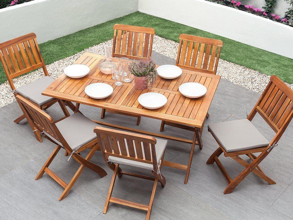 Salon De Jardin Table Et 6 Chaises En Bois Marron Cento Nel 2020