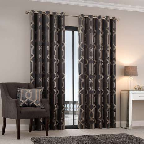 5a Fifth Avenue Bergen Charcoal Velour Eyelet Curtains Curtains