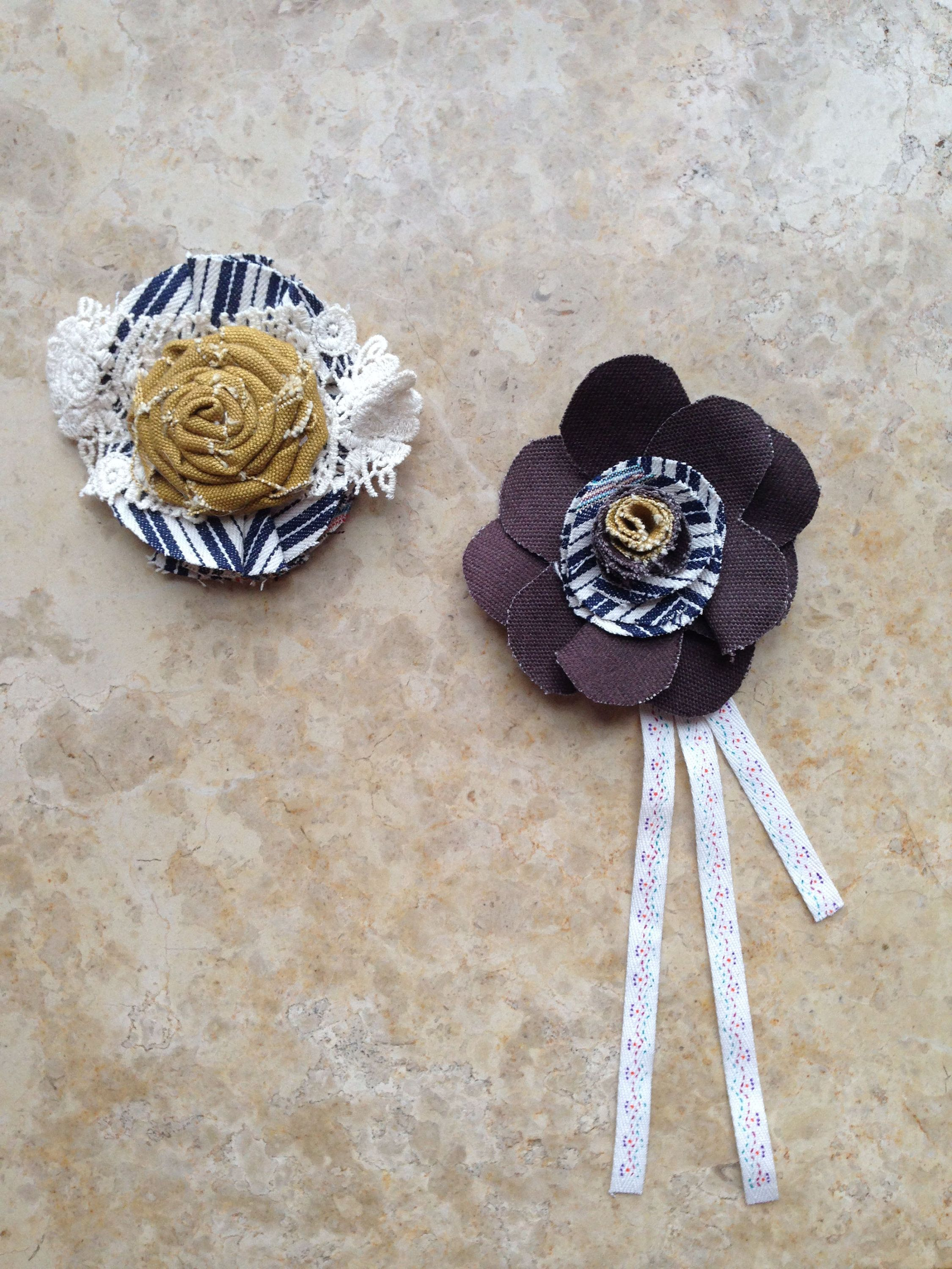 61e2e61783c Textile Lace Tassel Flower Rosette Brooch Badge Set | Fabric ...