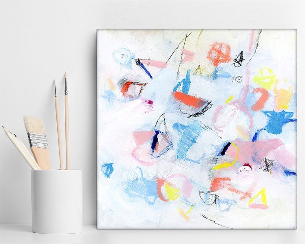 Small Abstract Painting Acrylic Paintings Original Art Small Canvas Art White Pink Blue Qu Canvas Art Gifts Small Abstract Painting Abstract Canvas Painting