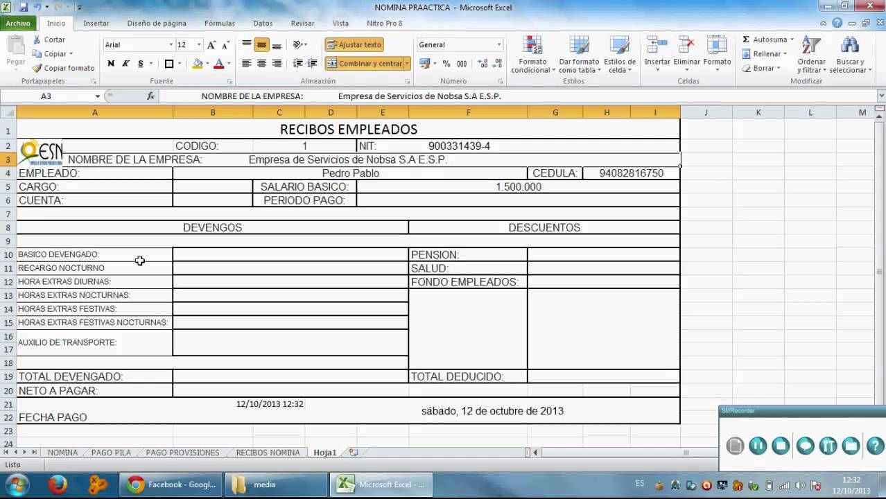 Como Hacer Un Recibo De Pago De Nomina En Excel Nomina