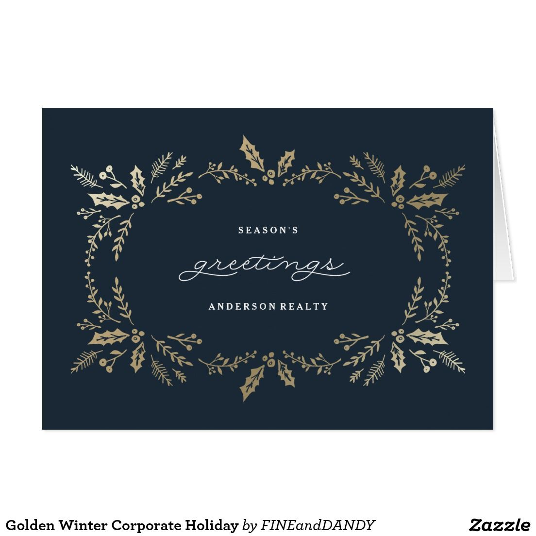 Golden Winter Corporate Holiday Card Season Greeting Cards