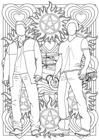 Supernatural Colouring For Grown Ups Sam And Dean Etsy Coloring Pages Love Coloring Pages Supernatural Drawings
