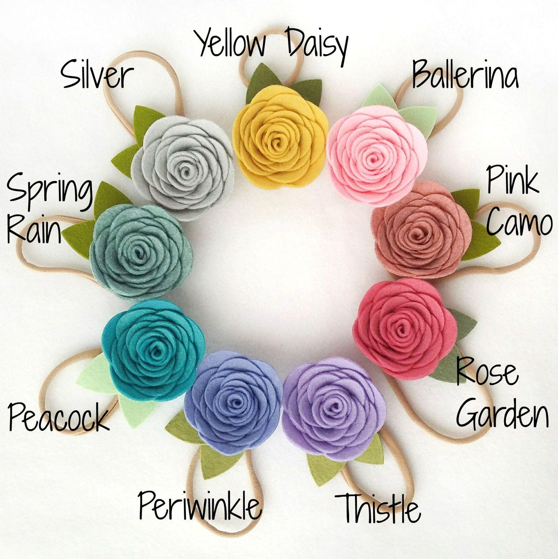 Felt Rose Headband,Make Your Own Headband,Custom Color Headband,Felt Flower Headband,Single Rose Headband,Nylon Headband,Baby Headband
