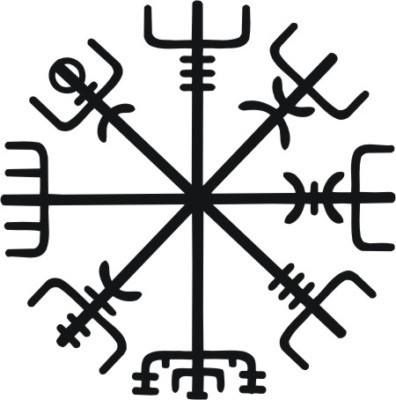 This is the Norse protection symbol called Vegvísir. Icelandic word: 'guidepost';'direction sign'. In modern popular culture often called Runic Compass or See the Way. This symbol is from the 17th century Icelandic grimoire called Galdrabók ('magic book'). The origin of this type of witchcraft is difficult to ascertain: to some extent it derives from medieval mysticism and renaissance occultism. Vegvísir was drawn on one's forehead with blood to prevent a person from getting lost.