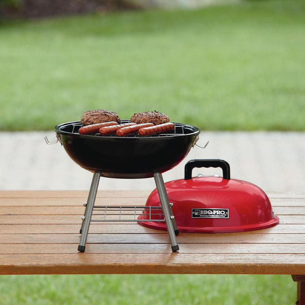 portable charcoal grill small outdoor bbq table top red patio