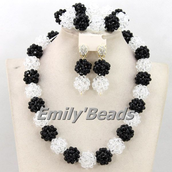 Popular Clear White Nigerian Beads Necklaces Jewelry Set Black African Wedding Costume Crystal Bead Jewelry Free Shipping AMJ109 #Affiliate