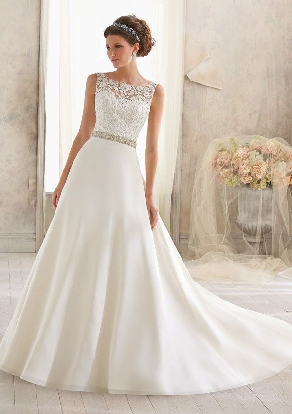 Find This Pin And More On Wedding Beaded Chiffon A Line Bateau Neckline Chapel