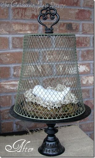 Wire cloche from an old mesh wastebasket, homemade cake
