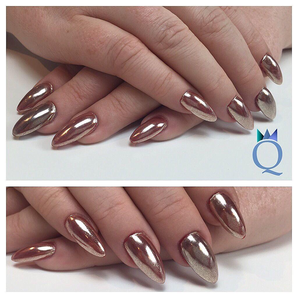 almondnails #nails #gelnails #chrome #over #red #colorgel ...