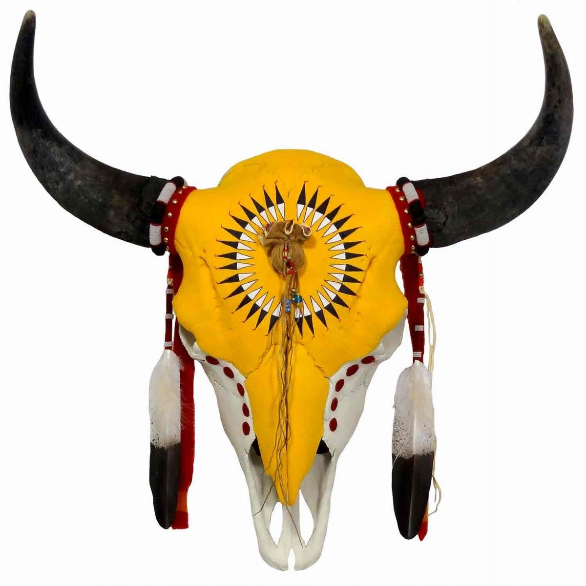 Hand Painted Buffalo Skull w. Feather Design Native American Made ...