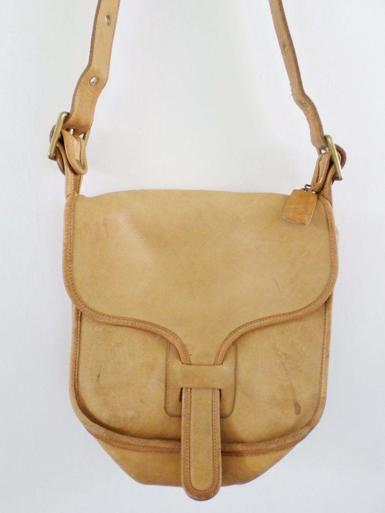 "COACH Bonnie Cashin made New York light tan leather flap shoulder bag 10""   Coach  ShoulderBag 87f82982f96f8"