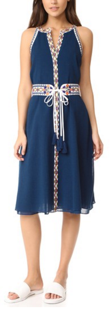 Navy dress with embroidered trim