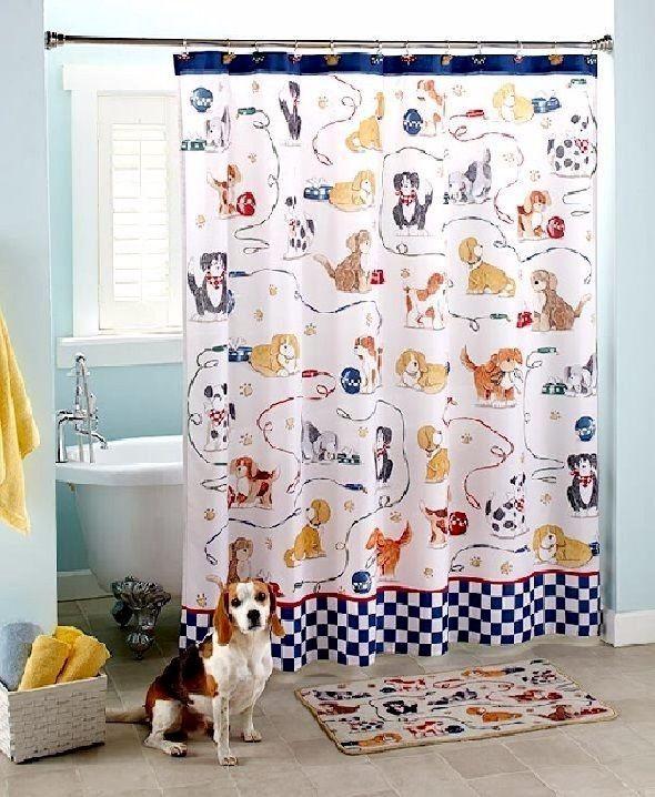 Bathroom Set Complete With Shower Curtain Hooks Rug Dog Lovers