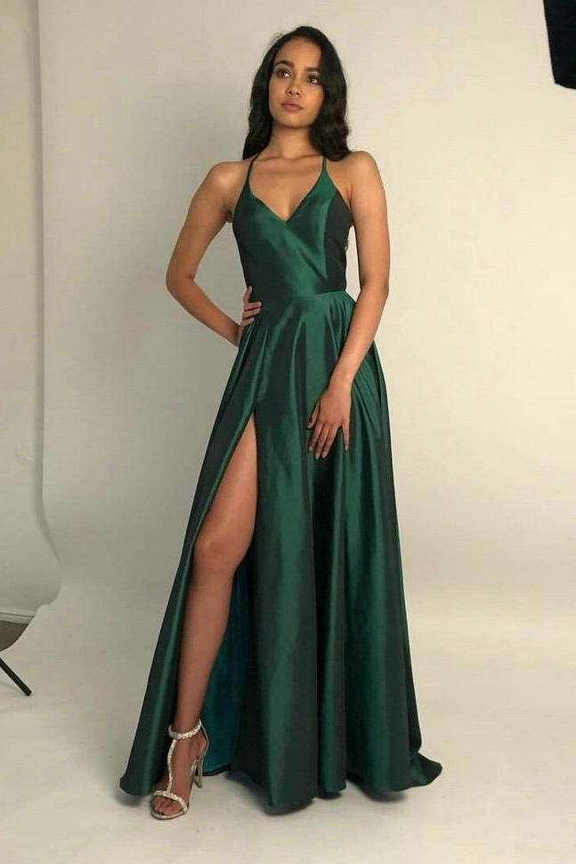 Spaghetti Straps Open Back Prom Dresses with Split