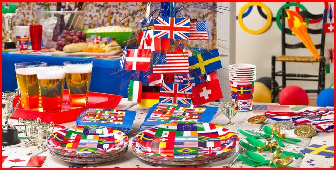 International flag party supplies party city for International party decor