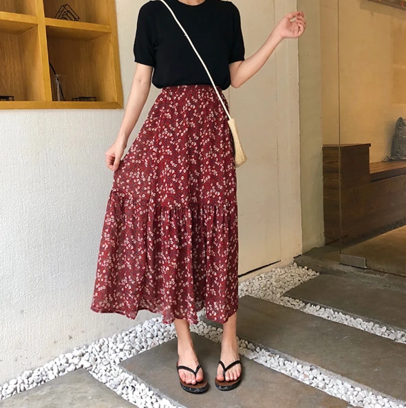 [Korean Style] Chiffon Floral Mermaid Long Skirt