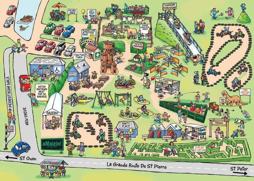 Cartoon Map for aMaizin Adventure Park in Jersey Channel ...