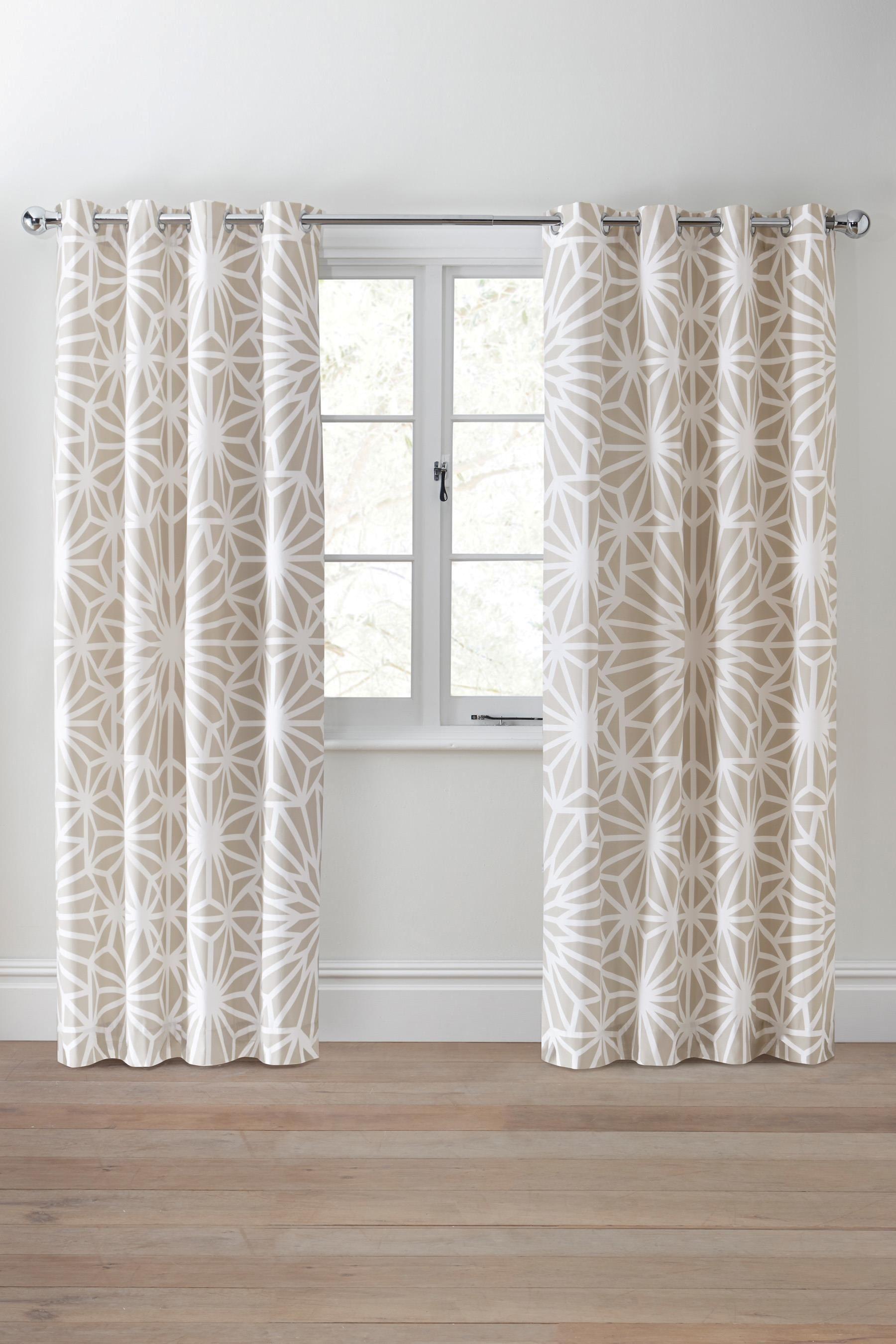 Natural Geo Print Eyelet Curtains Next UK 168x183 45