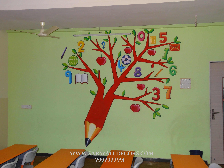 Cartoon Wall Painting In School School Wall Art Classroom Wall Decor Classroom Walls Paint