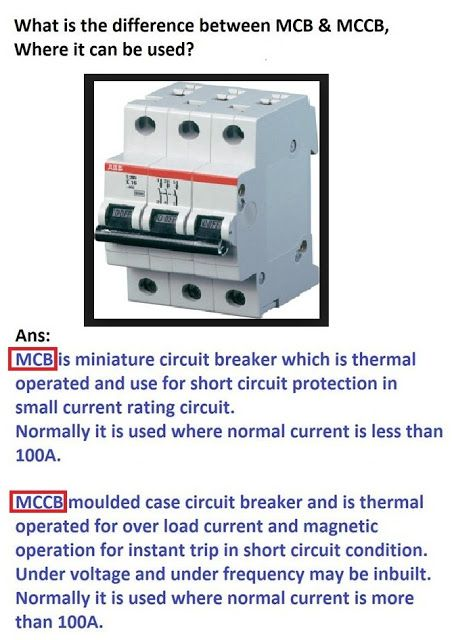 What is difference between MCB, and MCCB | Electrical Engineering ...