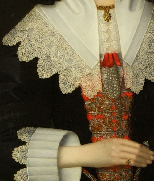 Portrait of Nee Lucy Apsley Hutchington, Detail. by John Souch (1593-1645)
