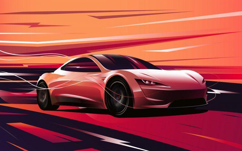Wallpaper Tesla Roadster Artwork Sports Car Tesla Roadster Car Wallpapers Roadsters