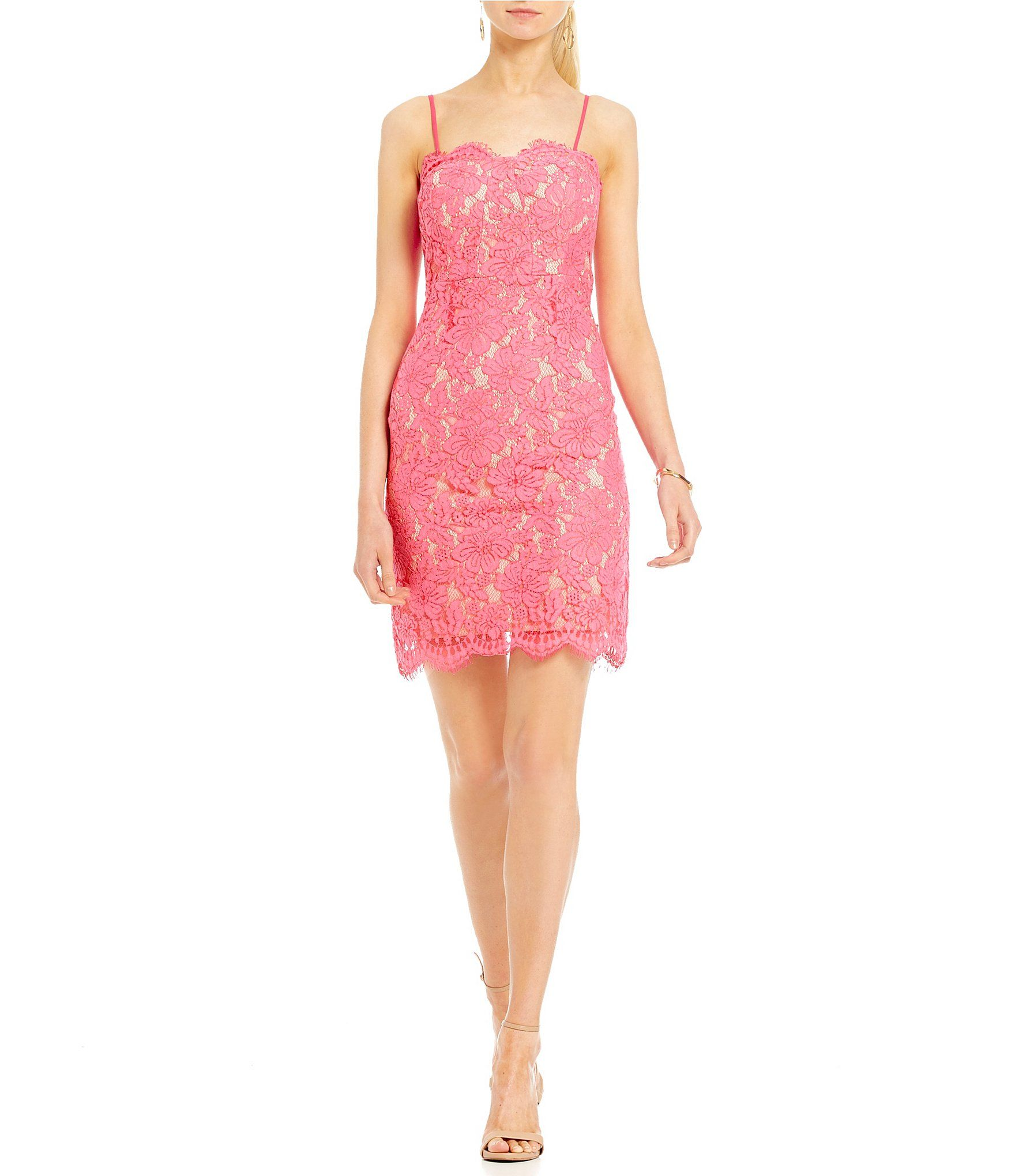 Mystic spaghetti strap lace sheath dress lace sheath dress