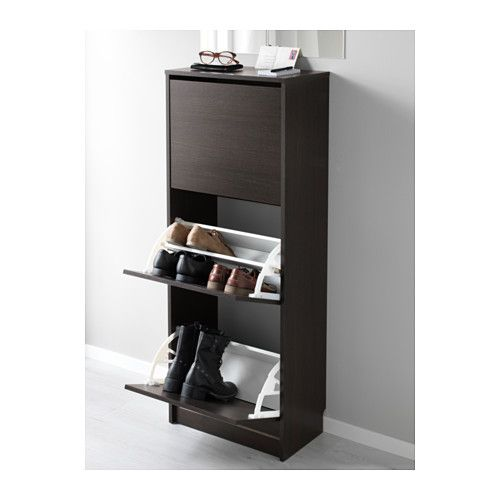 IKEA   BISSA, Shoe Cabinet With 3 Compartments, Black/brown, , Helps You  Organize Your Shoes And Saves Floor Space At The Same Time.