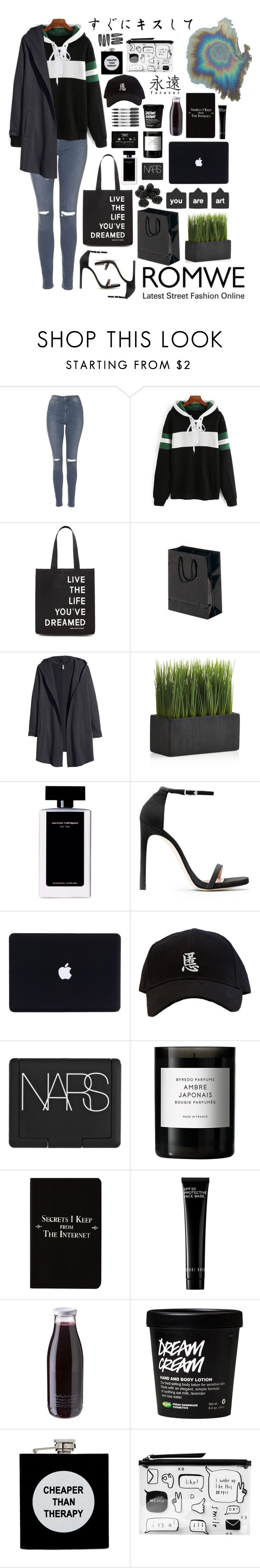 """""""You should wear sweat and heels to break stereotypes / Eyes Shut - Years&Years"""" by pgrndjn ❤ liked on Polyvore featuring Topshop, Forever 21, H&M, Crate and Barrel, Sharpie, Narciso Rodriguez, CASSETTE, Stuart Weitzman, NARS Cosmetics and Byredo"""