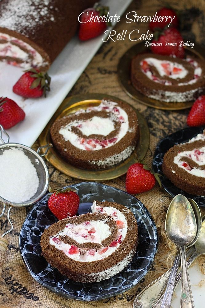 Chocolate strawberry roll cake #rollcake
