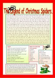 English Worksheets: THE LEGEND OF CHRISTMAS SPIDERS. | Legend ...