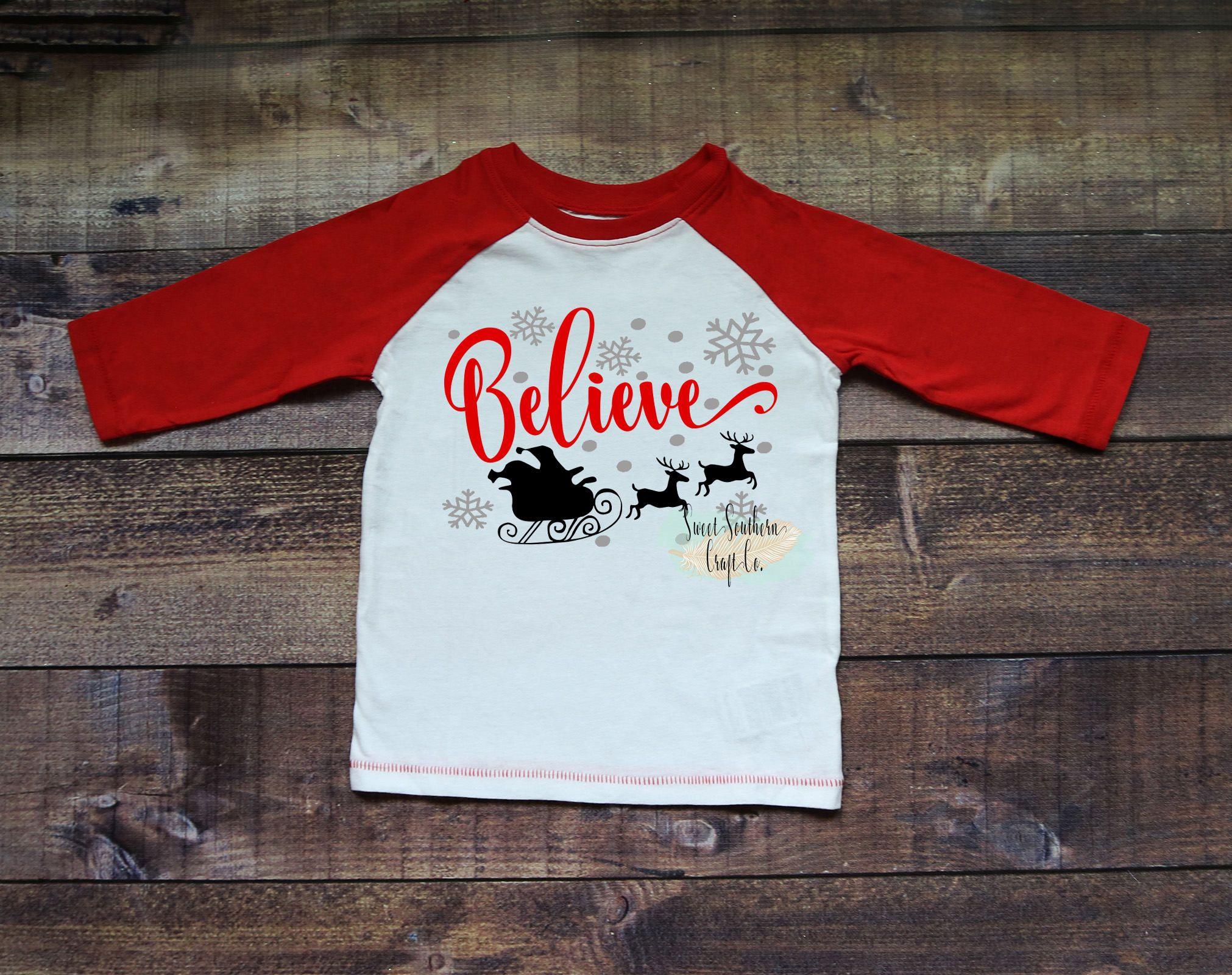 47bc9ea575412 Believe Kids Christmas Raglan,Christmas Shirt,Matching Shirts,Santa ...