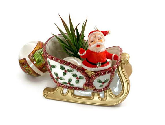 Vintage Fitz and Floyd Christmas Santa Sleigh Ceramic Candy Etsy