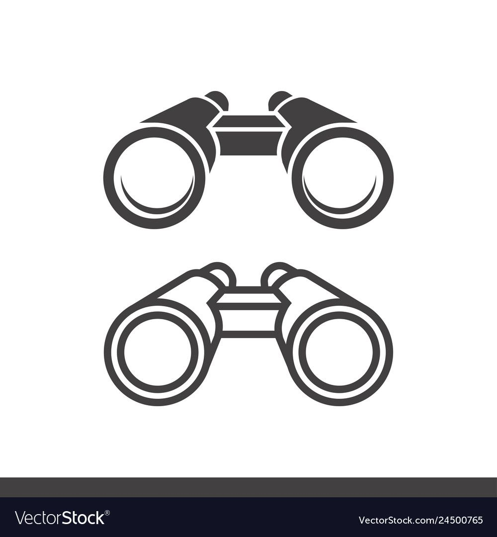 Binoculars icons filled and line style royalty free vector