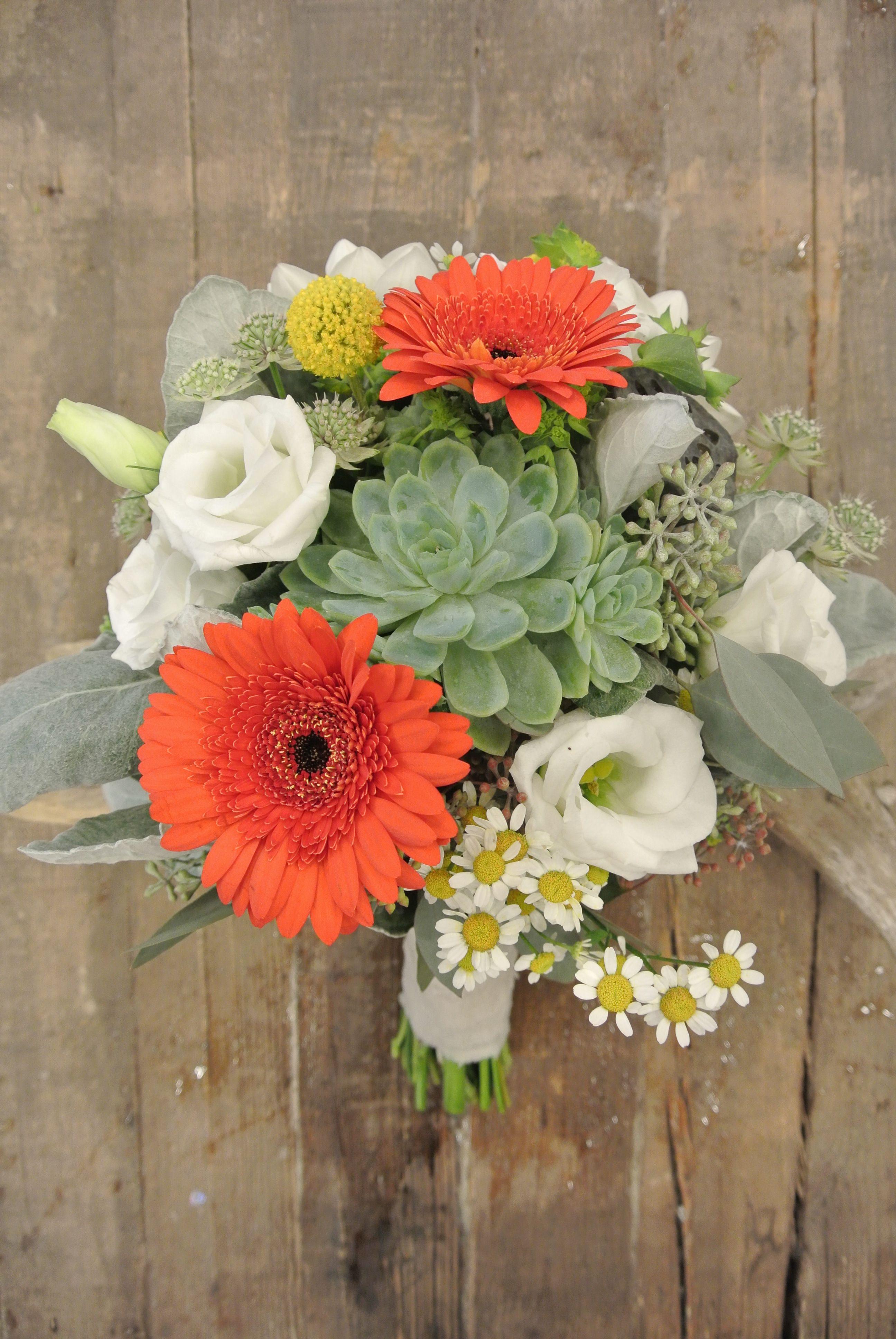Bridal Bouquet Dahlias, Scabiosa, Succulents, Craspedia, Matricaria and Mini Gerberas