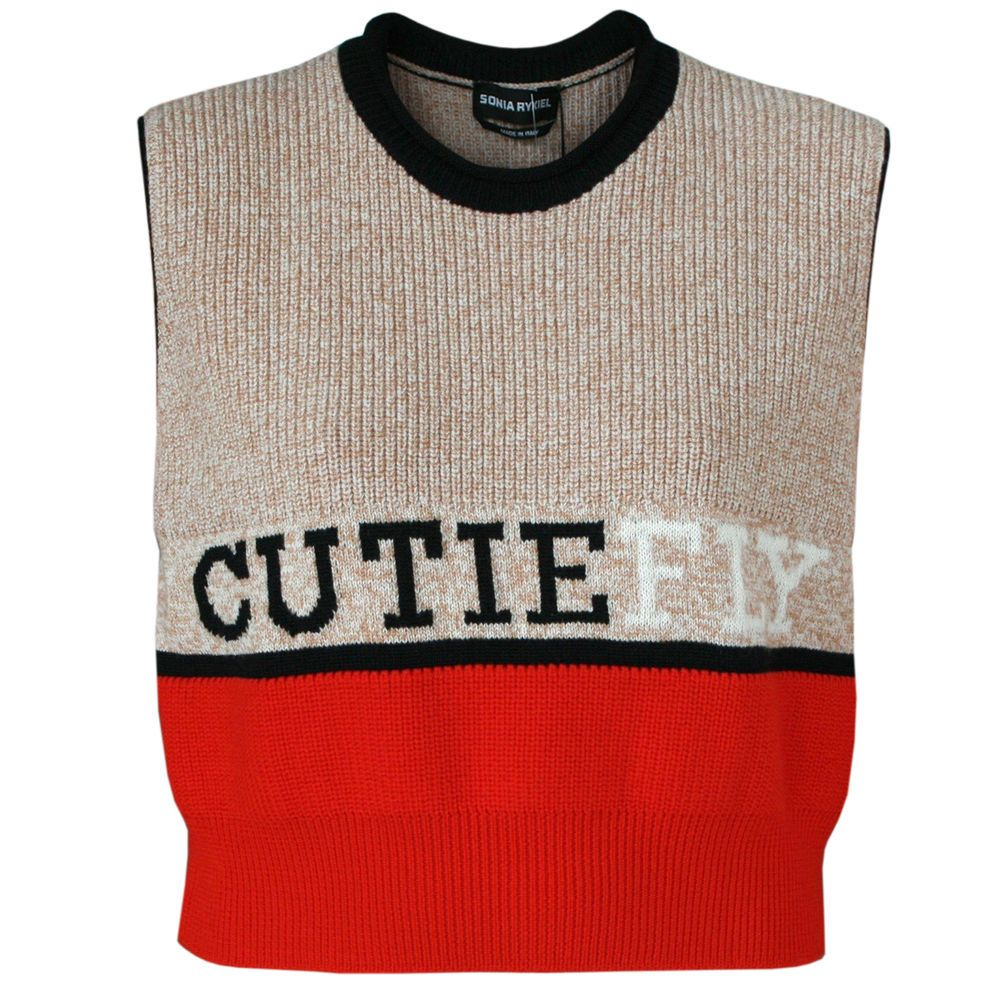 SONIA RYKIEL $750 cropped sleeveless wool mohair Cutie Fly sweater ...