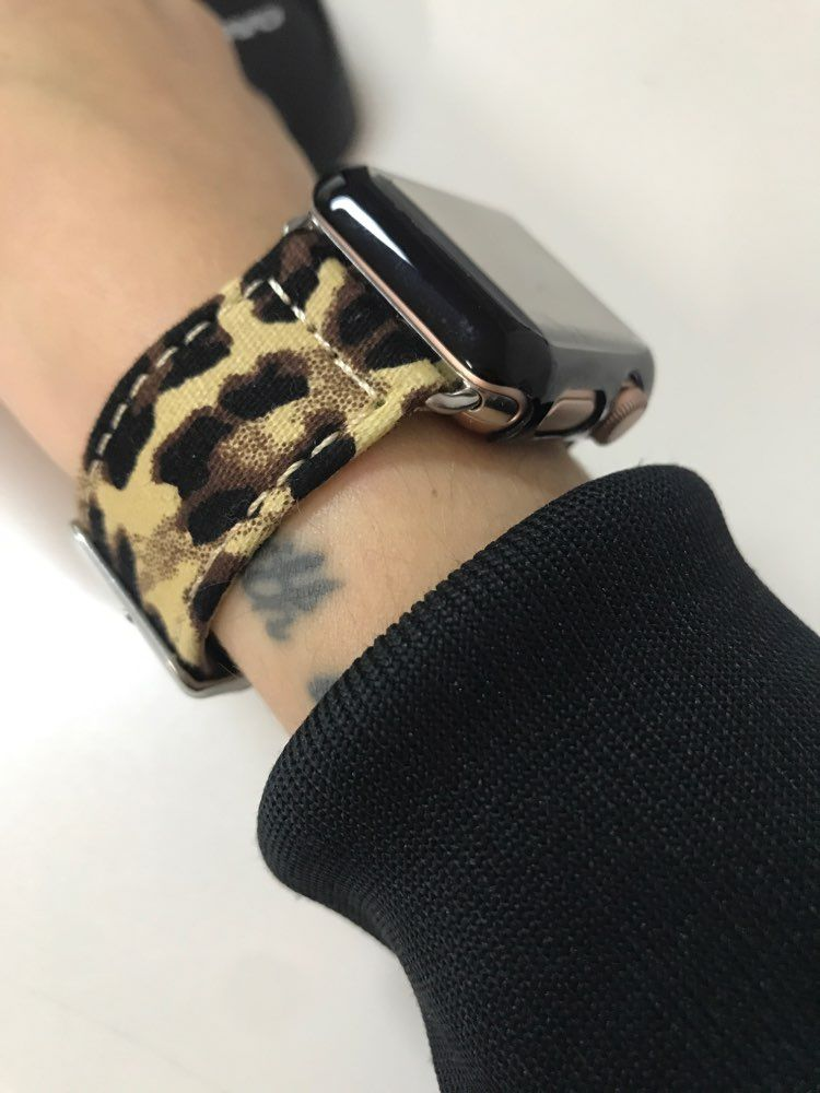 Leopard Printed Leather Watchband Strap Band For Apple Watch 38mm