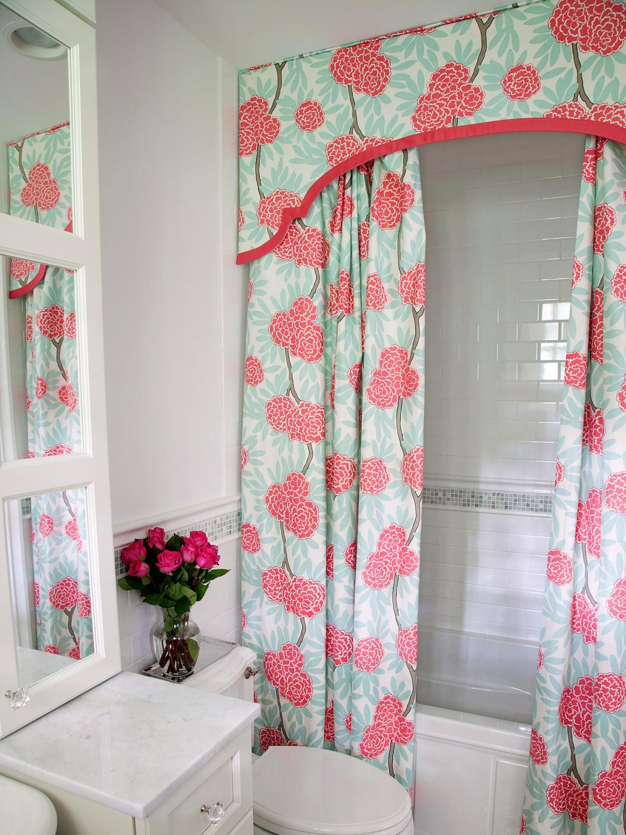 Chic Cherry Blossoms Bathroom Set With Double Shower Curtain For Girls The Most Recommended Girly