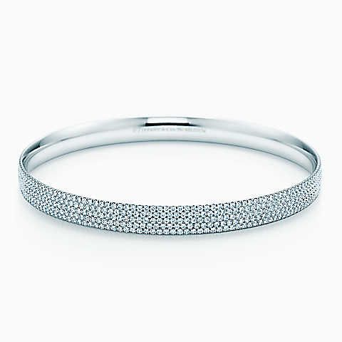 8c80126a6ef14 Tiffany Metro five-row bangle in 18k white gold with diamonds, large ...