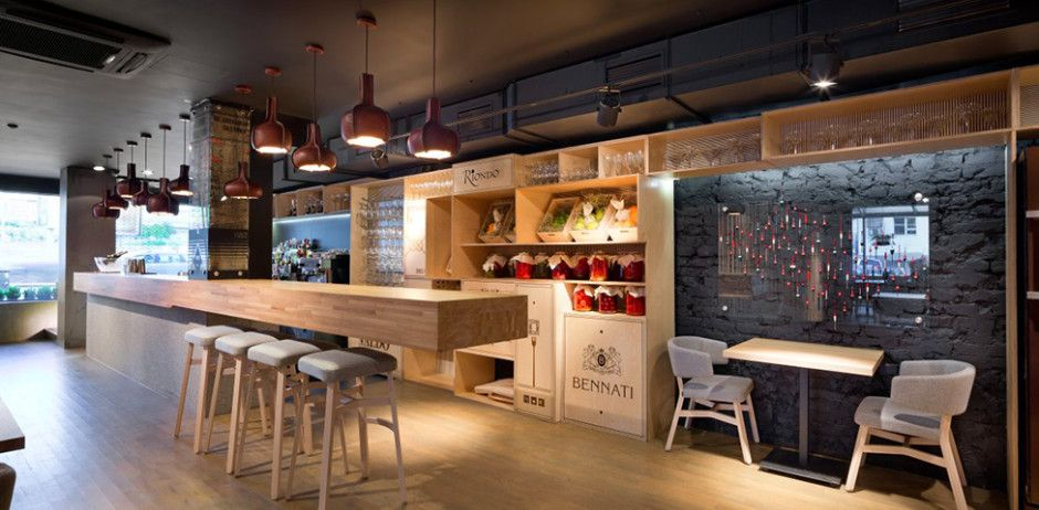 Restaurant Amazing Bar Space Design Decorated With Wooden Flooring ...