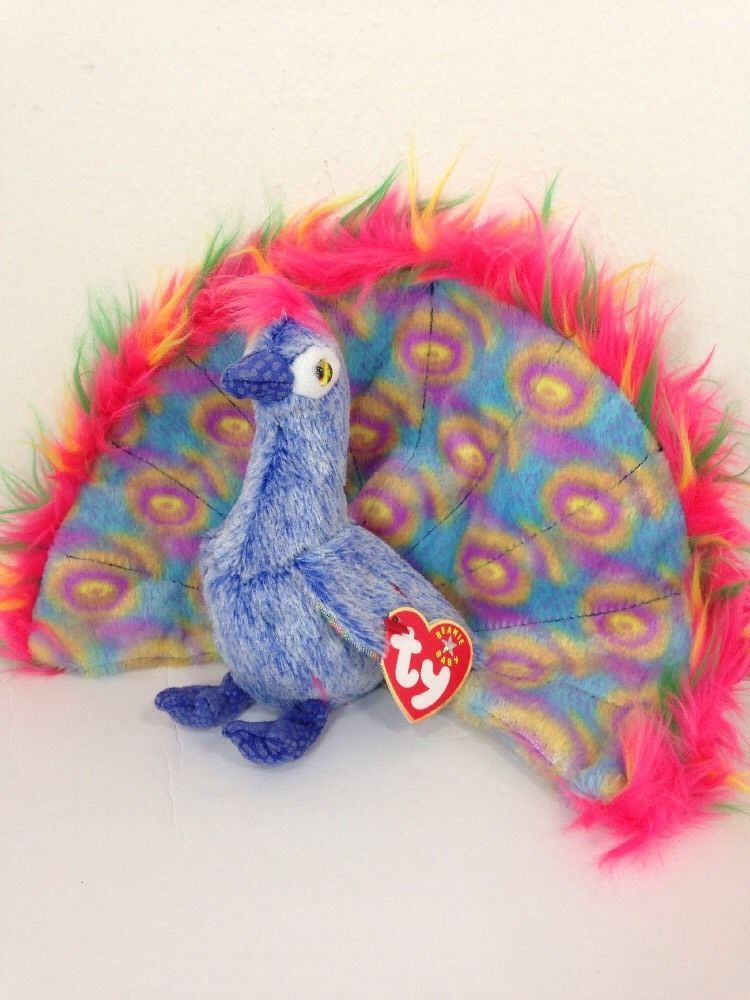 9eb39ff0058 Ty Beanie Babies Flashy Peacock Plush Collectible Toy  Ty