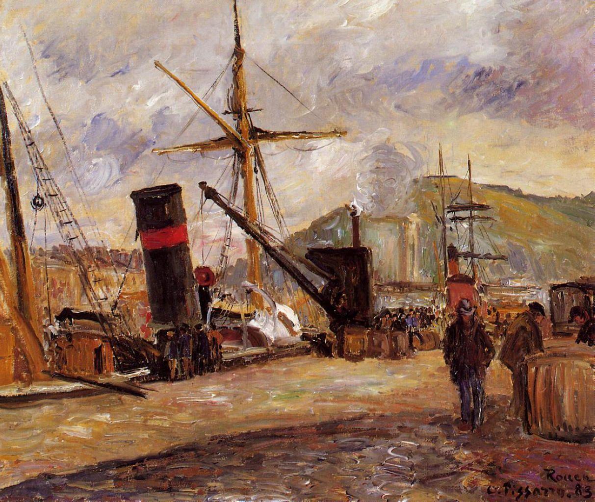 Steamboats - Camille Pissarro, 1883
