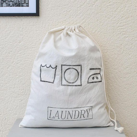 Drawstring Laundry Bag Lino Printed Laundry Symbols Bag Travel