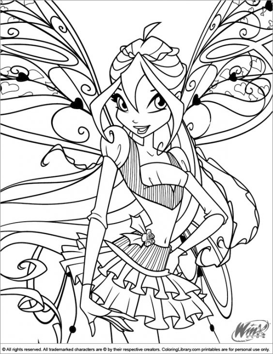 Winx Club Coloring Page Free | Coloring Pages for Girls | Pinterest ...