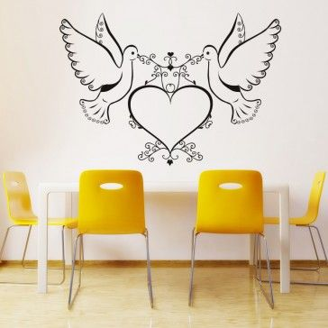 Doves and Love Heart Wall Art Sticker Wall Decals - Love Hearts ...